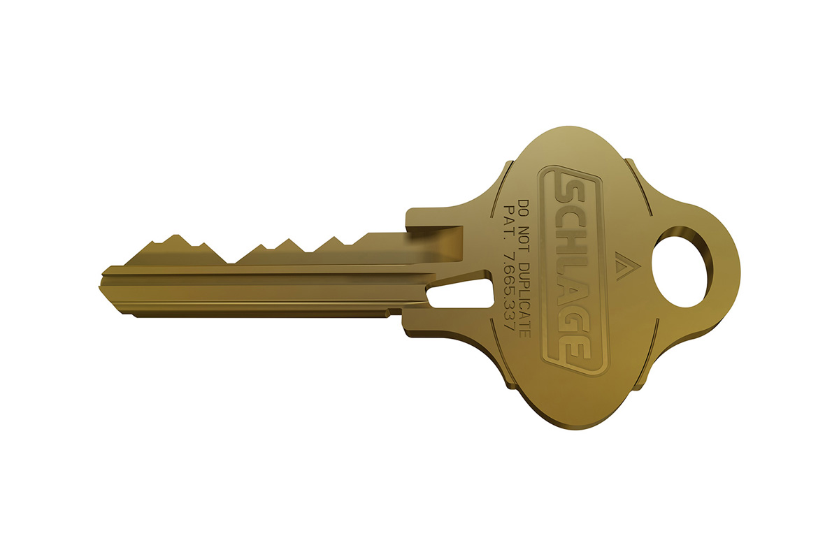Photo of a gold Schlage key