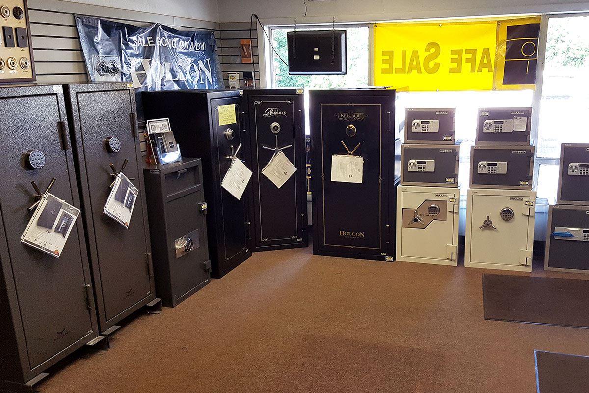 Photo of the DuPage Security Solutions safes showroom